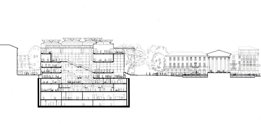 The building carr d art - Plan de coupe maison ...