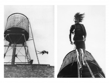 Babette Mangolte, Trisha Brown, Woman Walking Down a Ladder, 1973